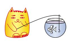 Cat and fish in the aquarium. A cat catches fish. Cartoon. Cat and fish in the aquarium. A cat catches fish. Funny cartoon figure. Vector graphics Royalty Free Stock Photo