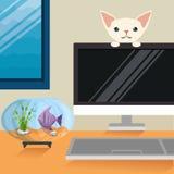 Cat and fish in aquarium scene. Vector illustration design Royalty Free Stock Image
