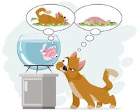 Cat and fish in aquarium. Vector illustration of cat and fish in aquarium Stock Images