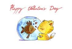 Cat and fish in aquarium. Watercolor illustration. Royalty Free Stock Photos