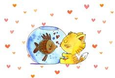 Cat and fish in aquarium. Watercolor illustration.