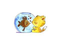 Cat and fish in aquarium. Watercolor illustration. Royalty Free Stock Photo