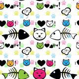 Cat with fish bone background. Cat with fish bone seamless pattern Stock Photos