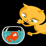 Cat and fish cartoon Royalty Free Stock Photo