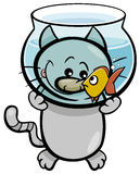 Cat and fish cartoon Royalty Free Stock Photos