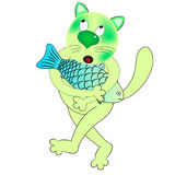 Cat and fish  character. Cartoon Royalty Free Stock Photo