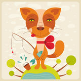 Cat with fish. Cute cat fishing. Vector illustration Royalty Free Stock Photos
