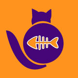 Cat and fish emblem with paper cut effect. Vector illustration Royalty Free Stock Photo