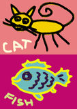 Cat and fish handy drawing Royalty Free Stock Photos