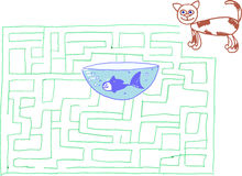 Cat and fish maze or labyrinth games Royalty Free Stock Photos