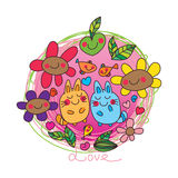 Cat fish plum abstract love. This illustration is design love plum fruit abstract circle tshirt template with white color background Stock Images