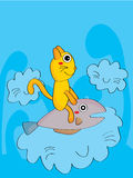 Cat fish sky crazy dream Stock Images