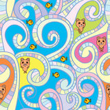 Cat fish swirl line seamless pattern Stock Image