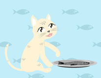 Cat with fish vector Royalty Free Stock Images
