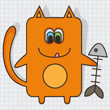 Cat with fishbone Stock Photo
