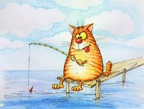 Cat Fisher. Contented cat-sitting and a fisherman goes fishing rod Stock Photography