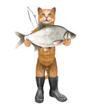 Cat - fisher in boots holds a huge fish. 3D illustration Royalty Free Stock Images