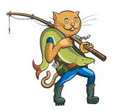 Cat fisherman. Linear and colorful figure Royalty Free Stock Photo