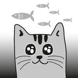 Cat and fishes Royalty Free Stock Photo