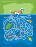 Cat and Fishes Maze Game. Maze Game with Cat and Fishes. Which Fish Can The Cat Catch. Vector Illustration in Flat Style Stock Image
