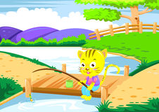 Cat fishing Stock Image