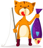 Cat fishing stock illustration