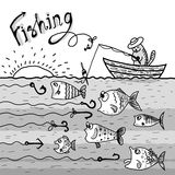 Cat fishing boat. Monochrome illustration. Cat fishing boat Royalty Free Stock Photo