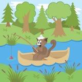 Cat Fishing en bosque Imagen de archivo libre de regalías