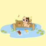 Cat fishing Royalty Free Stock Image