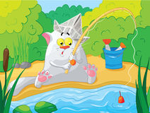 Cat fishing on the river. Vector illustration. Stock Photography