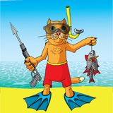 Cat on a fishing vacation. Royalty Free Stock Image
