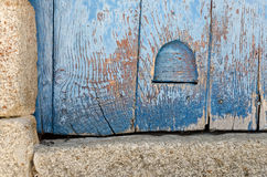 Cat Flap. In an old wooden door Stock Images