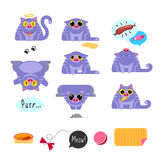 Cat flat design icon set Royalty Free Stock Photography