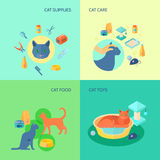 Cat 4 flat icons square composition Stock Photos