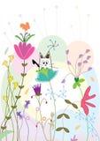Cat on flora atmosphere_eps. Illustration of cat on flora atmosphere. --- This .eps file info Document: A4 Paper Size Document Color Mode: CMYK Color Preview royalty free illustration