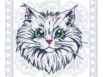 Cat in floral background doodle for adult stress release coloring page. Hand drawn cat doodle for adult stress release coloring page vector illustration