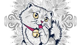 Cat with floral background doodle for adult stress release coloring page. Hand drawn cat doodle for adult stress release coloring page vector illustration