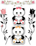 Cat and floral borders illustration background Royalty Free Stock Images