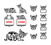 Cat Floral Ornament Decoration Photo stock