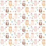 Cat And Floral Pattern Background sveglia illustrazione vettoriale