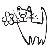 Cat with the flower Royalty Free Stock Photos