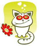 Cat with flower Royalty Free Stock Image