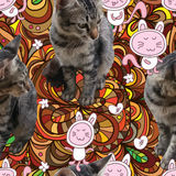Cat flower ball decor seamless pattern Royalty Free Stock Photography