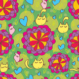 Cat flower bird seamless pattern Royalty Free Stock Image
