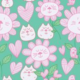 Cat flower cat bird pastel color seamless pattern Royalty Free Stock Images