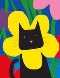 Cat with flower collar. A black cat with a yellow flower collar Stock Photography