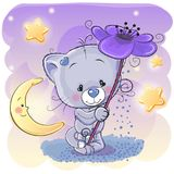 Cat with flower. Greeting card Cat with flower and the moon stock illustration