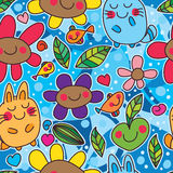 Cat flower happy crazy blue seamless pattern. This illustration is drawing cat, fish, flower and leaves happy in crazy wave blue color background and seamless Stock Photography