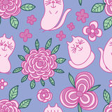 Cat flower leaf draw seamless pattern Stock Images