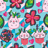 Cat flower leaf tribal seamless pattern. This illustration is design and drawing cat wear leaf with abstract tribal style in seamless pattern Royalty Free Stock Images
